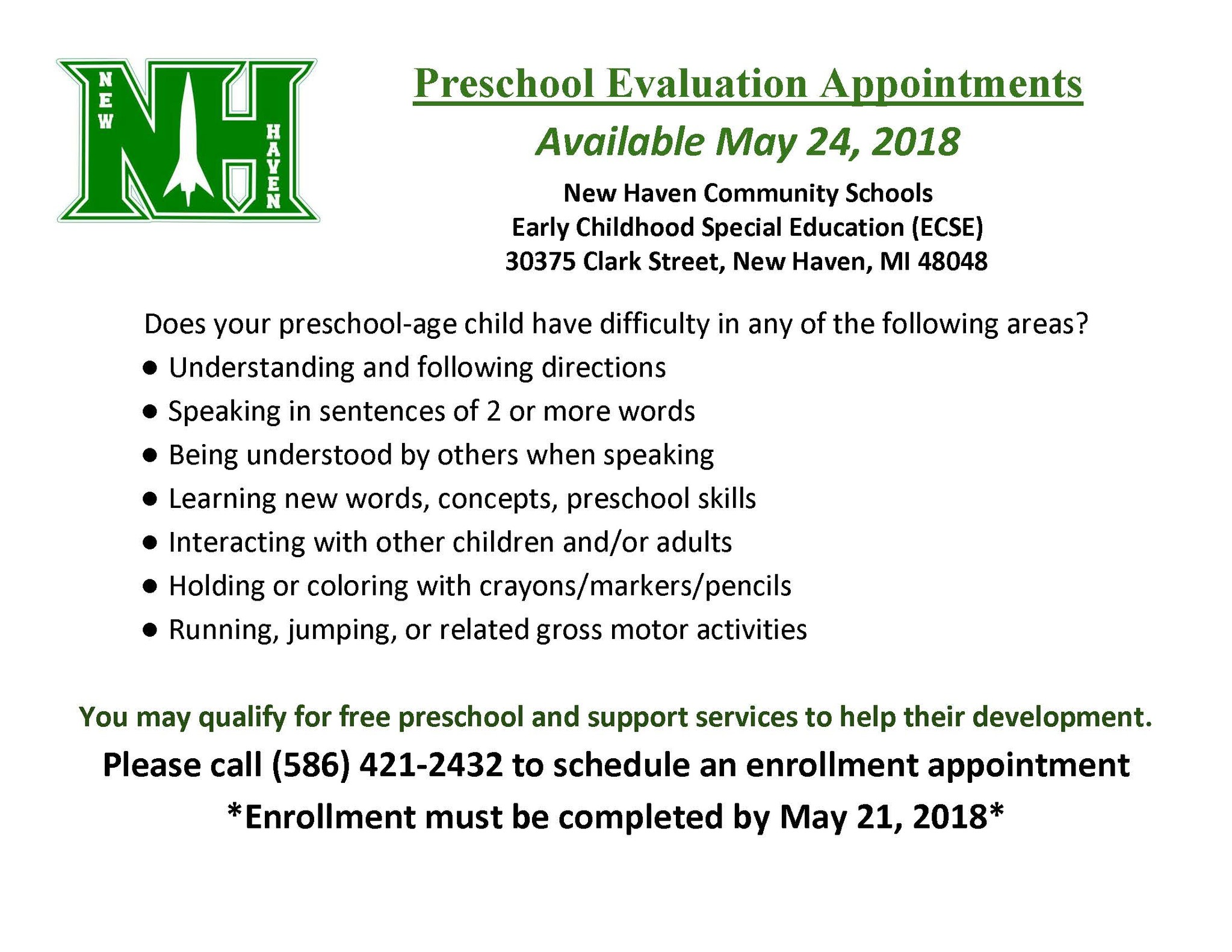 Preschool Evaluation Announcement